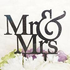 MR and MRS Glitter Black Acrylic Cake Topper Laser Cut Bride Groom Wedding Cake