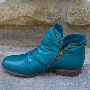 Women Boots New Leather Ankle Flat Shoes Autumn Winter Snow Platform Zipper Punk