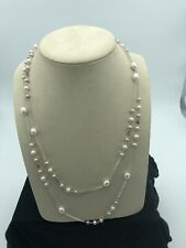 Sterling Silver and Freshwater Pearl Stations Necklace 53""