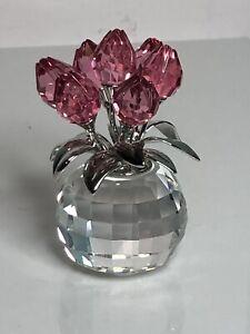 Swarovski Crystal 9448 000 025 Vase Of 7 Pink Tulips 626874 Flowers