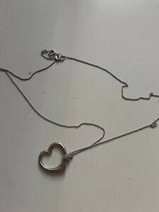 Hallmarked Heart-shaped Necklace On Very Fine Chain