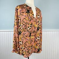 Size 4X Ava & Viv Peach Floral Top Blouse Peasant Shirt Boho Women's Plus NWT