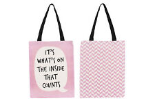 New Pink Canvas Shopper Shopping Tote Bag with Speech Bubble Quirky Slogan