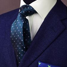 Decorous Forest Green With Pink And White Polka Dots Stylish Woven Skinny Tie
