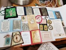 CATHOLIC RELIGIOUS LOT  20 VINTAGE  SAINT RELICS AGNUS DEI BADGES POUCHES MEDALS