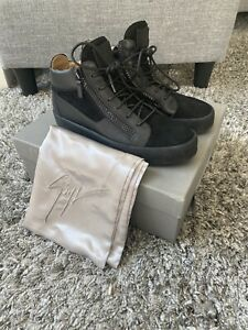 Giuseppe Zanotti Mens High Top Suede And Leather Sneakers |Black | Size 44