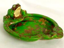 "RARE WELLER 6 1/8"" COPPERTONE FROG DECORATIVE FROG MINATURE TRAY c '2Os"