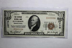 1929 $10 National Note Bank of Elverson Pennsylvania 10775 E000539A CU