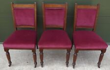Set of Three Antique Victorian Mahogany & Walnut Over-Upholstered Dining Chairs