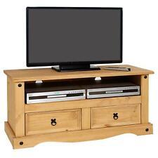 Meuble banc TV style mexicain 2 tiroirs 1 niche pin massif finition teinté/ciré