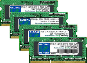 "8GB 4x2GB DDR3 1600MHz PC3-12800 204-PIN SODIMM IMAC 27"" LATE 2012/2013 RAM KIT"