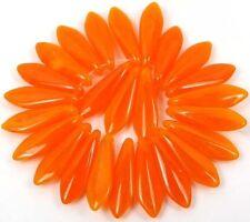 25 Czech Glass Dagger Beads - Opal Orange  16mm