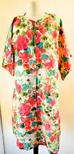 Deadstock New Vintage Janet Lynn Featherlite Hand Screened Floral Print Robe L
