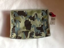 BARNEYS New York LARGE COSMETIC BAG CAMO w/PINK ZIPPER pull NWT MSRP $60 New BNY