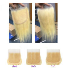 12AA RUSSIAN PURE BLONDE 613 LACE CLOSURE 4X4/5X5/6X6 SILKY STRAIGHT/BODY WAVE