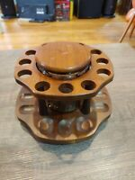 Vintage Wood 12 Pipe Holder carousel Lazy susan with glass humidor
