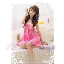 Girl's Pink Cute Sweet Chiffon Nightie Sleepwear Babydoll Lingerie Dress