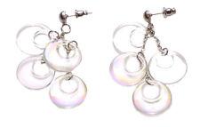 Splendid & Iridescent White Plastic Circle Cluster/ Metal Stud Earrings(Zx257)