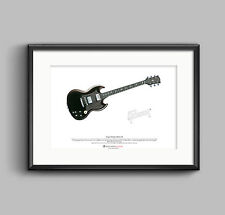 Angus Young's Gibson SG ART POSTER A3 size