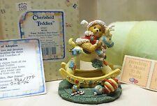 Cherished Teddies Beth Bear on Rocking Reindeer Figurine 950807 MINT Box COA '92