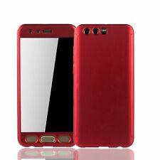 Huawei Honor 9 Handy-Hülle Schutz-Case Full-Cover Panzer Schutz Glas Rot