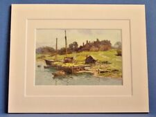 BUCKLER'S HARD NEW FOREST VINTAGE DOUBLE MOUNTED WATER COLOUR PRINT c1920 10X8