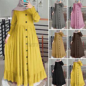 Womens Muslim Long Sleeve Crew Neck Elegant Ladies Casual Loose Long Maxi Dress