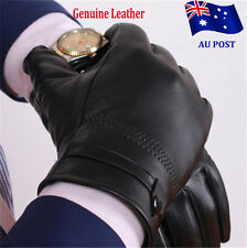 Men's Autum Winter Classic Genuine Leather Gloves Lambskin Mittens Black ON