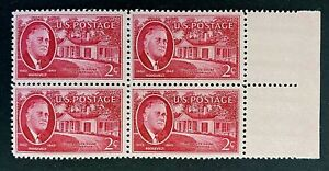 US Stamps, Scott #931 Roosevelt & Little White House 1945 2c Blk of 4 VF/XF M/NH
