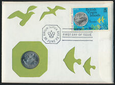 Virgin Islands 255 + 5c coin on FDC - Coin on Stamp, Birds, Fish