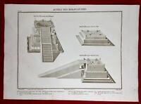Judaïca 1846 Autels des Holocaustes Rare Gravure ancienne Archéologie Hébraïque