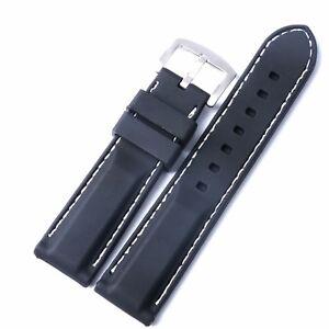 22mm 24mm Width Black Silicone Rubber Sport Diver Wrist Watch Band Men's Strap