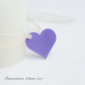 Personalised Lilac Love Heart Wedding Favours for Invitations or Decorations 4cm