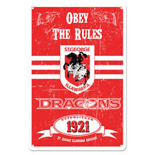 St George Illawarra Dragons NRL Retro Tin Wall Sign Obey The Rules Man Cave Bar