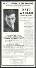 1918 Mayo Wadler photo violin recital tour booking trade print ad