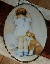 Vintage Bessie Pease Guttman Flue Cover Or Chain Hung Picture~Little Girl & Dog!