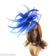 Royal Blue Fascinator Hat For Weddings/Ascot/Proms With Headband V1