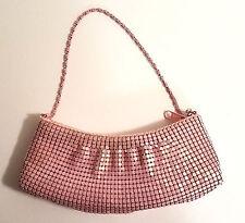 Evening Bag, Pink Metallic Shimmer Beading Overlay, metal rope handle