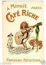 POSTCARD FRENCH CAFE RICHE PARIS DOG LOBSTERS CHILD & GUITAR SIGNED REDON