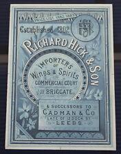 More details for richard hick wine spirits antique advertising proof yorkshire briggate leeds