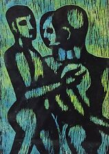 Mid-Century Modern Abstract Woodcut Print Three Nude Males signed Beauchamp