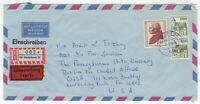 1978 Jul 4th. Registered Air Mail Cover. Heidelberg to University Park, Penn.