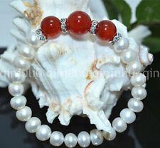 7-8MM White Akoya Cultured Pearl & 10/12MM Natural Red Jade Bracelet 7.5'' J3217