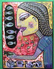 Original surrealista Pintura silberzweig peces lengua; dar Arte Original