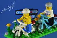 LEGO bicycles  white bike blue / azure bikes cycle cycling with minifigures NEW