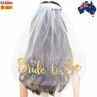 Bride to Be Veil Gold Embroidered Bridal Shower Hens Night Party Accessory AUS