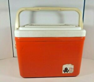 Vintage Family Thermos Cooler Orange White 12 quarts with locking lid, cup holds