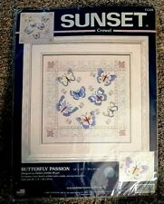 """2001 Dimensions Sunset Crewel Craft Kit BUTTERFLY PASSION 14""""x14"""" - Butterflies"""