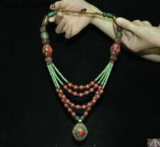 Unique Tibet Red Coral Turquoise Crystal Old Jade Silver Amulet Pendant Necklace