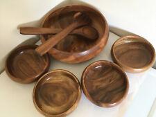 SOCORRO wooden salad bowl, spoons serving bowls handmade from solid acacia BNWOT